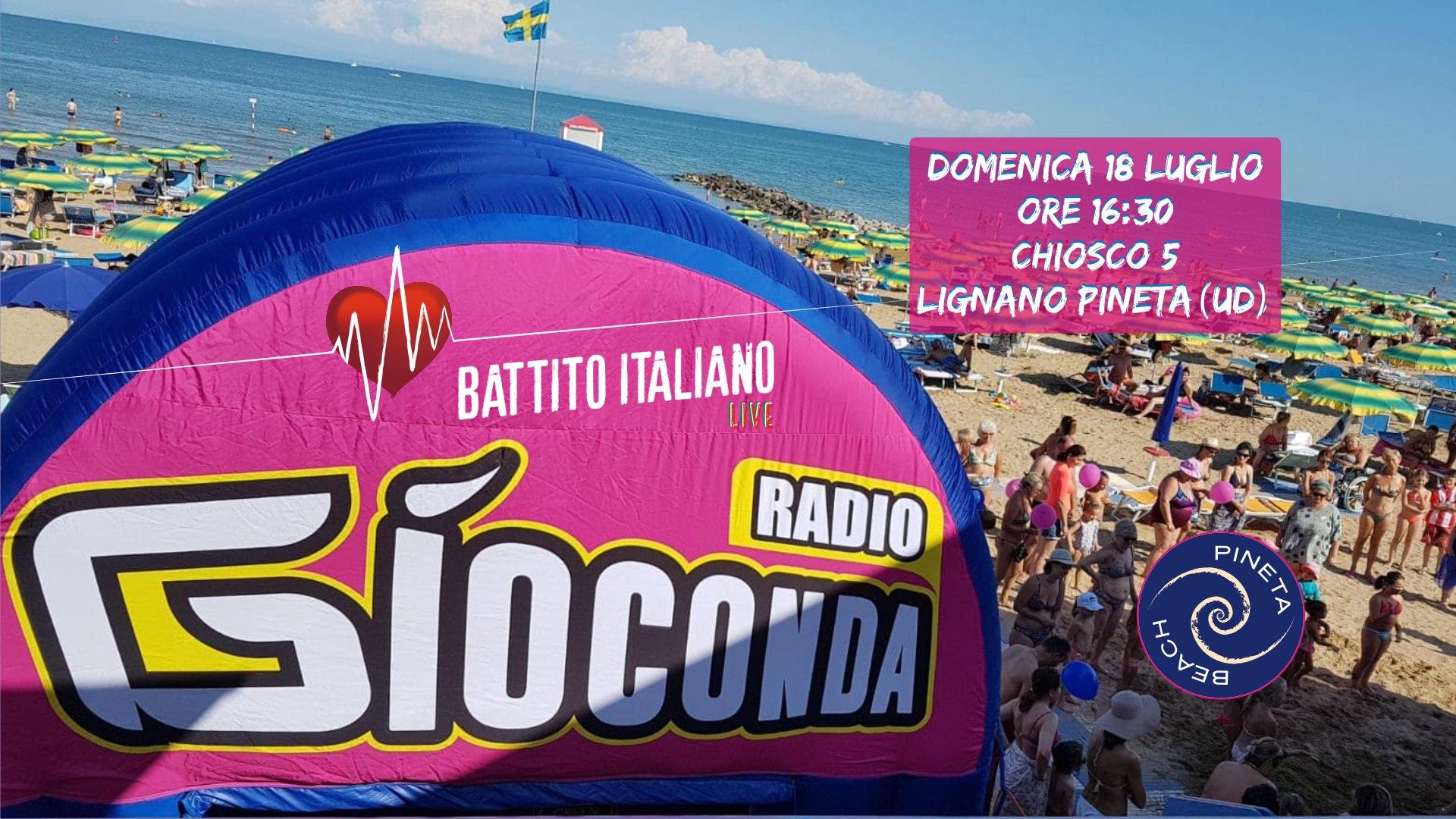 Domenica pomeriggio 18 luglio dalle 16:30 dal Chiosco 5 di Lignano Pineta pulsa il cuore di Battito Italiano LIVE!!!